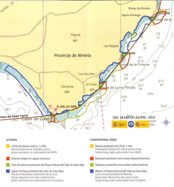 Mapa Reserva marina Cabo de Gata